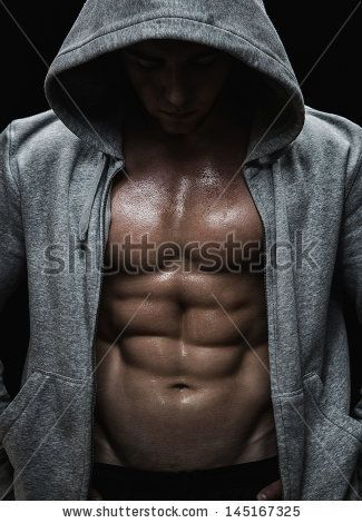 Close up of muscular sports man after weights training over black  background - stock photo 25932491618