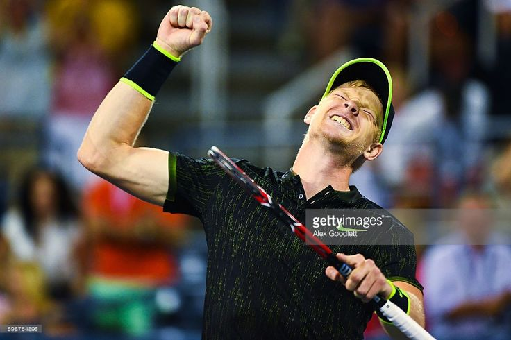 Kyle Edmund of Great Britain celebrates a win over John Isner of the United…