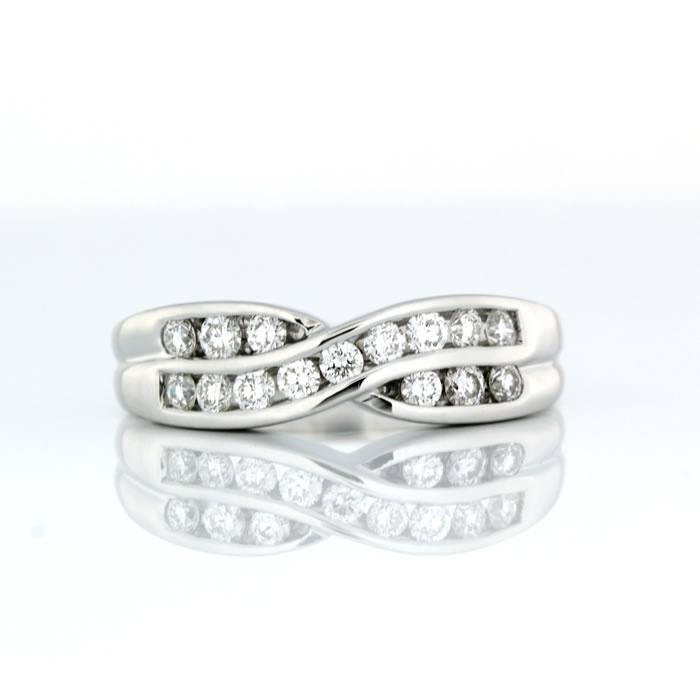 Cute Cross Over Channel Set Ring ct White Gold Cross Over Channel Set Wedding Ring Product Reference