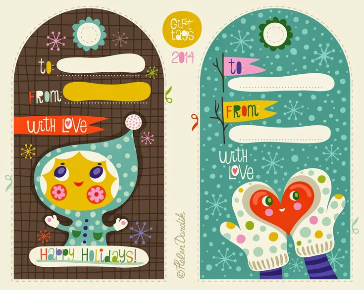 Helen Dardik is such a fun illustrator! I love her blog, Orange You Lucky! She recently shared some free holiday gift tags just in time for wrapping season!