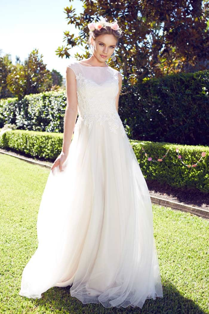 #Garden #Wedding #Dresses for the Bride and her Girls // Gown by Caleche Bridal House, Earrings by Najo, Photography  Lyndel Yeo, 35mm Fashion Photography. For more visit http://www.modernwedding.com.au/garden-wedding-dresses-for-the-bride-and-her-girls/