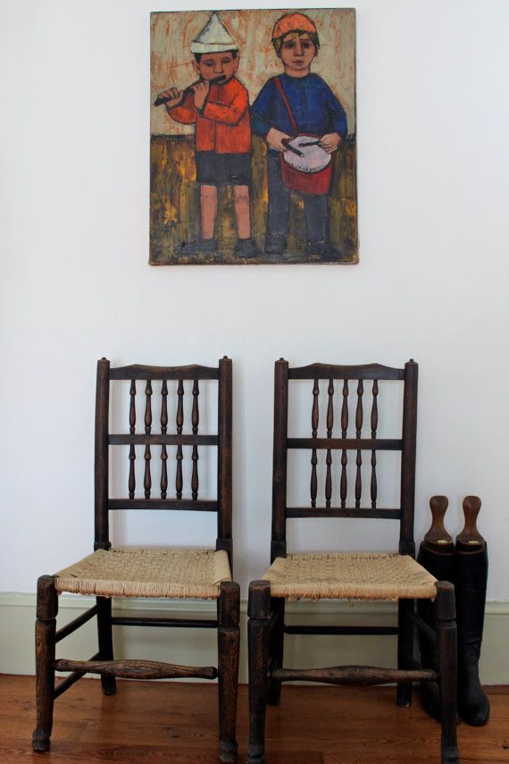 Antique woven Chairs  Set of 2 by vintagewall on Etsy, $240.00