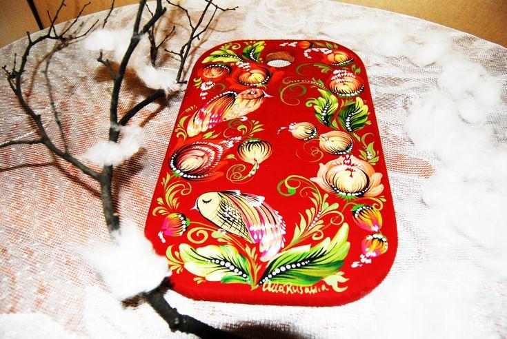 kitchen cutting board painting custom wood board birds art