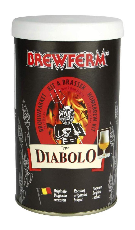 Brewferm – Diabolo Bira Kiti   Brewferm'ün bu kiti, yüksek alkole ve yumuşak bir rayihaya sahip koyu altın renginde bir biradır. En bilinen ticari örneği Duvel'dir. Güçlü bir ale türüdür. Şerbetçi otu tadı orta seviyededir. Tüm yüksek alkollü Belçika biralarında olduğu gibi şişede dinlendirilmesi önerilir.  Diabolo kitinin başlangıç yoğunluğu(OG): 1.075'tir ve bu yoğunluk ile % 8 alkol oranlı 9 litre bira üretilir. #beer #brewferm #bira #diabolo