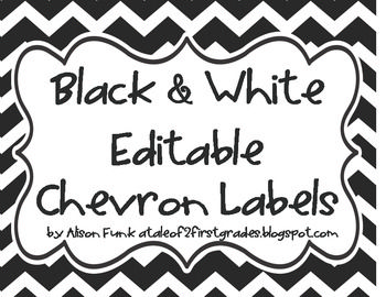 Black and White Chevron Label Set includes:  NOW EDITABLE IN POWERPOINT  2 1/4 X 4 1/4 labels for student book boxes  3x3 These labels can be used to number items in the classroom such as materials or stations.   Labels for Lockers or Classroom Materials  4 x 10 Student Nameplates  8X8 Table Signs  The possiblities are endless with this set of classroom labels, the above are just what I would use them for in my classroom.