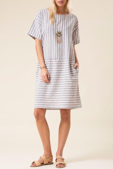 Striped Boxy Linen Dress