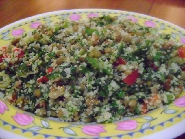 Herbed Lentil and Bulghur Salad. (Sub quinoa for bulghur?)