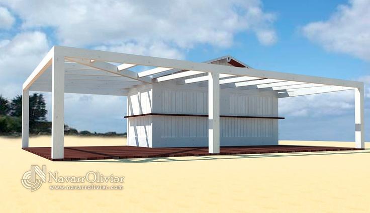 Proyecto de chiringuito de 14 m2 con pérgola adosada en color blanco ibiza by navarrolivier.com