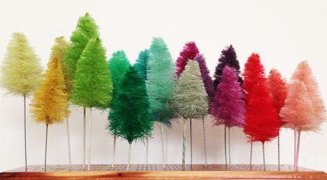 Handmade Colorful Bottle Brush Trees great tutorial
