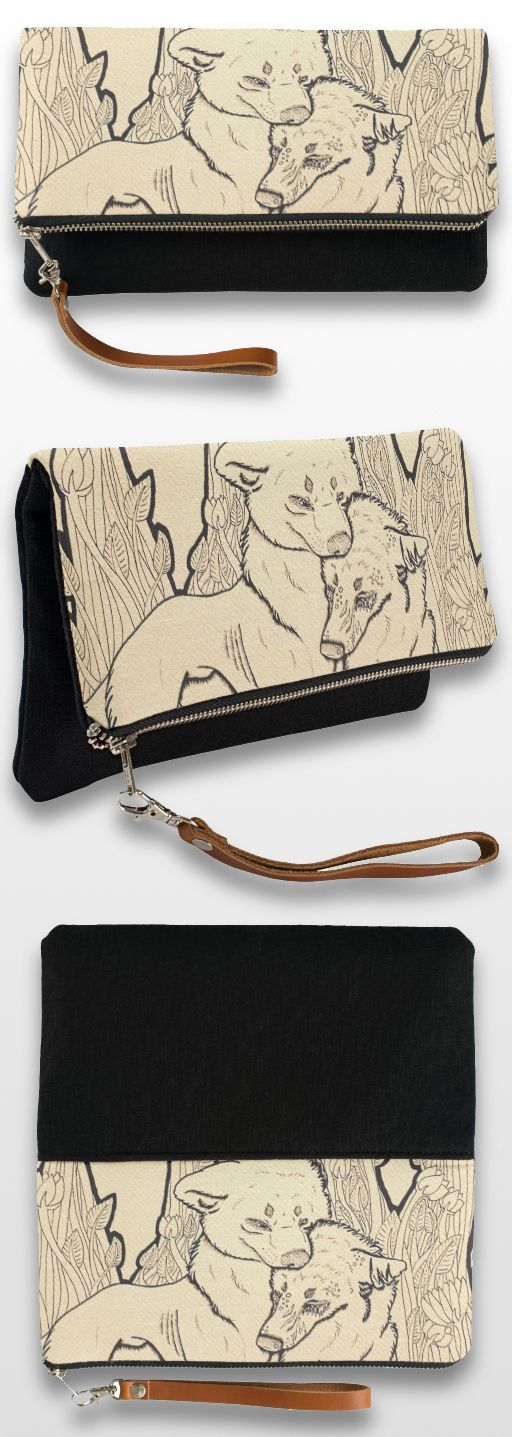 """Ugly"" Black and White Wolf Clutch Bag #wolf_products #wolf_art #wolf_illustration #sepia"