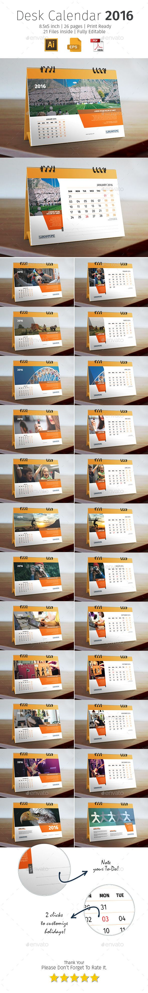 "Calendario de Escritorio Medidas: 8.5"" x 5"" Impresión Full Color"