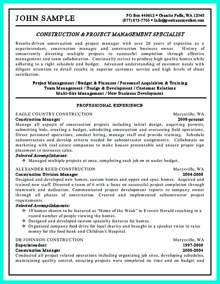 construction project manager resume for experienced one must be made with professional profile education