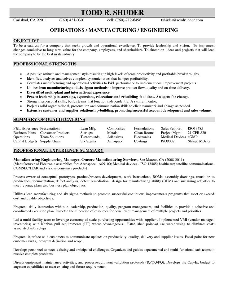 Manufacturing Engineer Resume - http\/\/jobresumesample\/804 - field application engineering manager resume