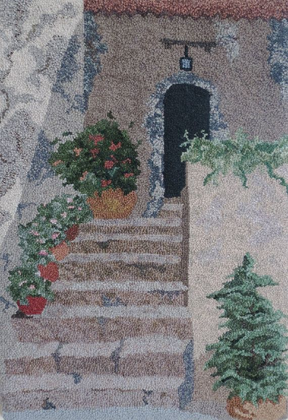 Hooked Rug Stairway In Provence Hand Hooked By GardenGateDesign