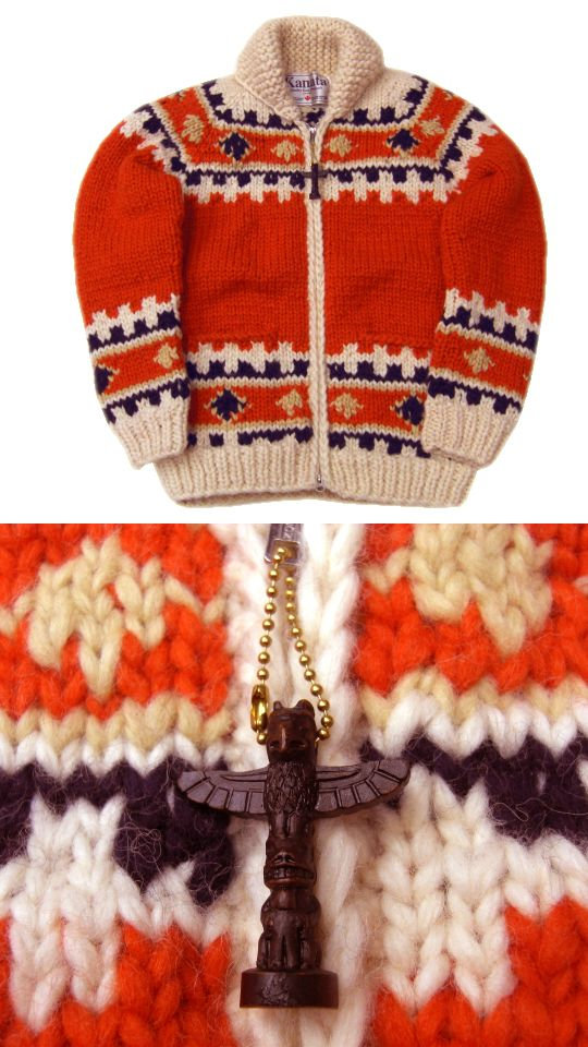 Vintage Kanata cowichan sweater xx cowichan salish cardigan sweater knitting colourwork nonstandard background colour; somehow, this doesn't look right