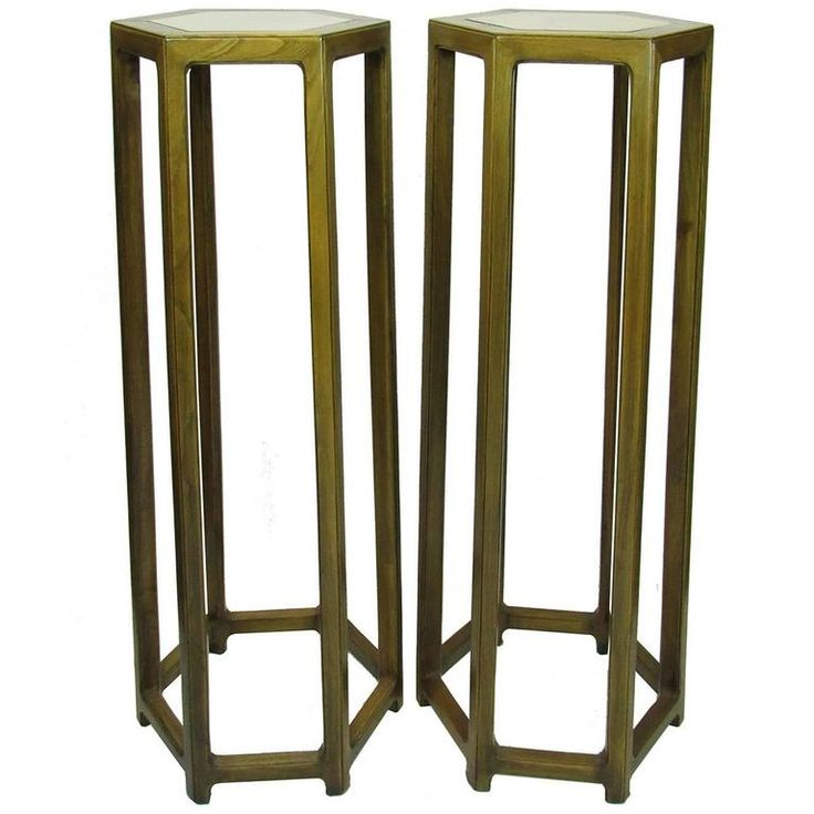Pair of Tall Antique Chinese Hexagonal Stand with Inset Marble Tops | From a unique collection of antique and modern furniture at https://www.1stdibs.com/furniture/asian-art-furniture/furniture/