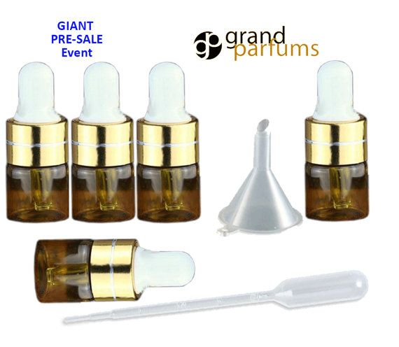 25 3ml AMBER Glass Dropper Bottle 1ml MINI Vials by GrandParfums