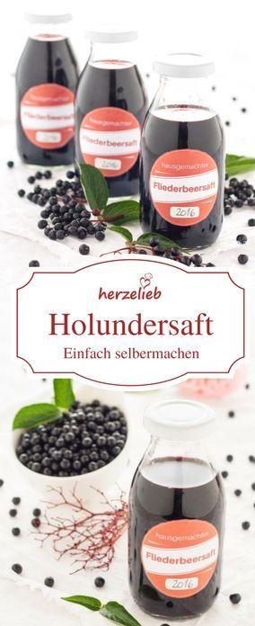 Rezept für Holundersaft von herzelieb - er wird auch Hollersaft, Fliederbeersaft, Holdersaft, Hollabia, Fläderbärsirup , Holunderbeerensaft genannt. #holunder #saft #getränkher