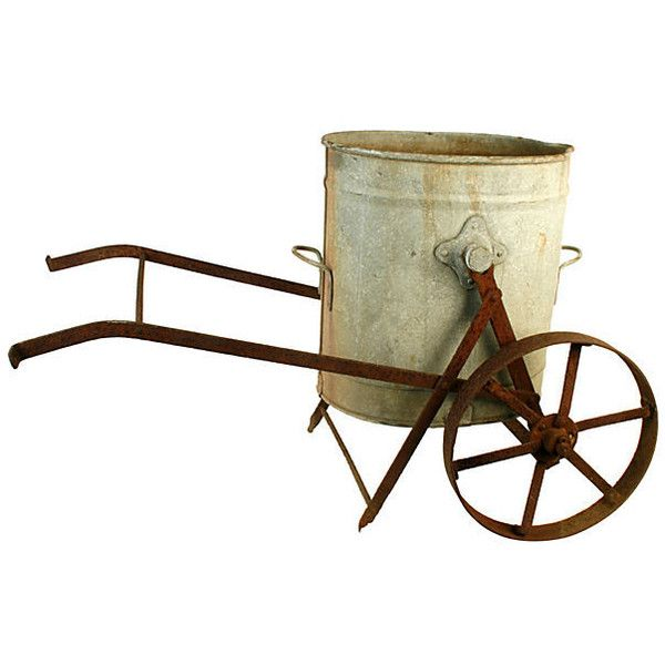Pre-Owned Victorian Garden Cart w/ Planter's Pail ($749) ❤ liked on Polyvore featuring home, outdoors, outdoor decor, decorative accessories, garden cart, metal cart, metal signs, metal garden signs and garden patio decor