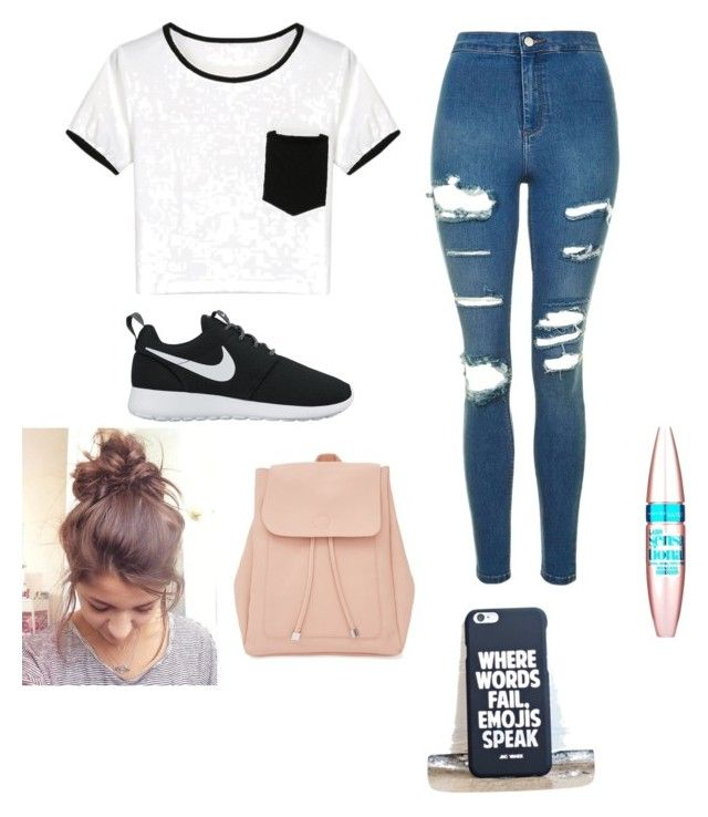 """""""Outd for Back to school"""" by juliette-soucy on Polyvore featuring mode, Topshop, NIKE, New Look et Maybelline"""