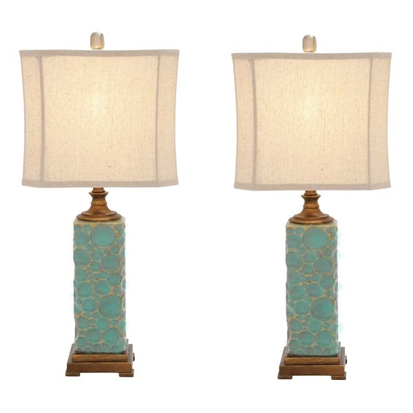 Carmel seafoam handcrafted ceramic table lamp set of 2