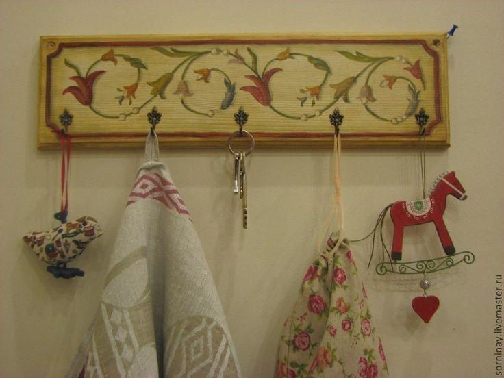 Купить Вешалка для кухни - вешалка для кухни, росписть мебели, итальянский орнамент, ключница, бежевый