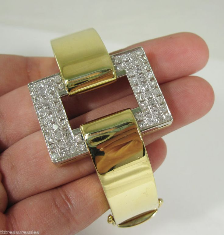 CUSTOM Large Diamond Bangle1.86ctw 67.5g 18k Gold + Appraisal