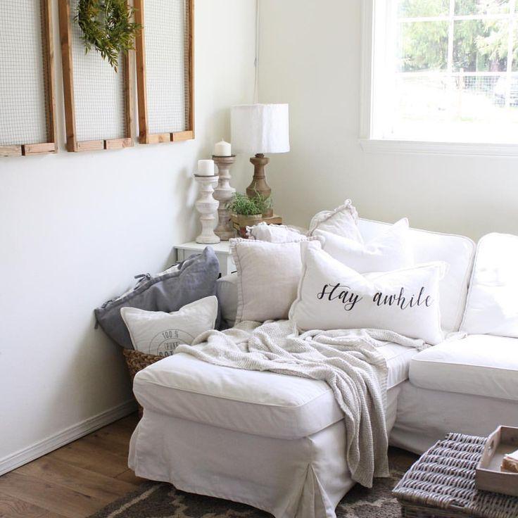 Farmhouse living room with the IKEA Ektorp Sofa. #ikeahack ...