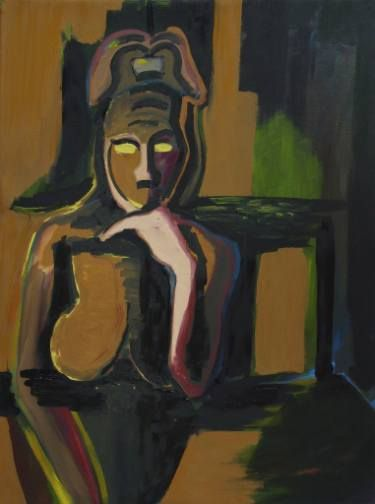 "Saatchi Art Artist Elisabeta Vlad; Painting, ""Woman thinking"" #art"