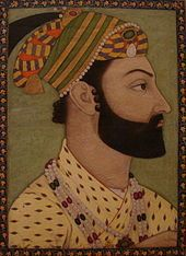 A 1757 miniature of Emir Ahmad Shāh Durrānī, in which the Koh-i-Noor diamond is seen hanging on the front of his crown, above his forehead.