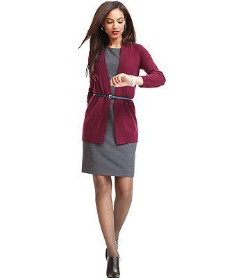 Work Your Wardrobe Long Cardigan & Sheath Dress Look – Women – Macy's