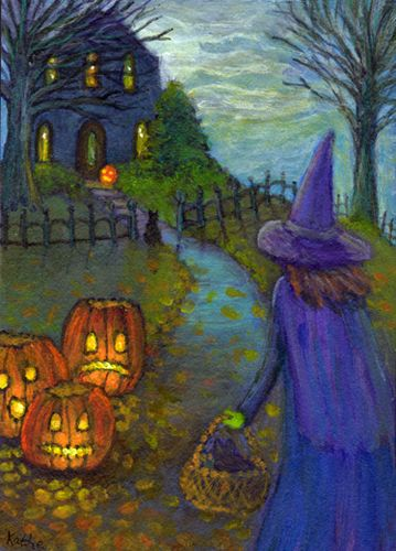 'Halloween's New Kitten' by Kathe Soave, ACEO cats pumpkibs jack o'lanterns moon witch art care