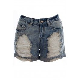 Nadine Ripped Stone Wash Boyfriend Shorts BUY IT NOW ONLY £16 AT www.fuchia.co.uk