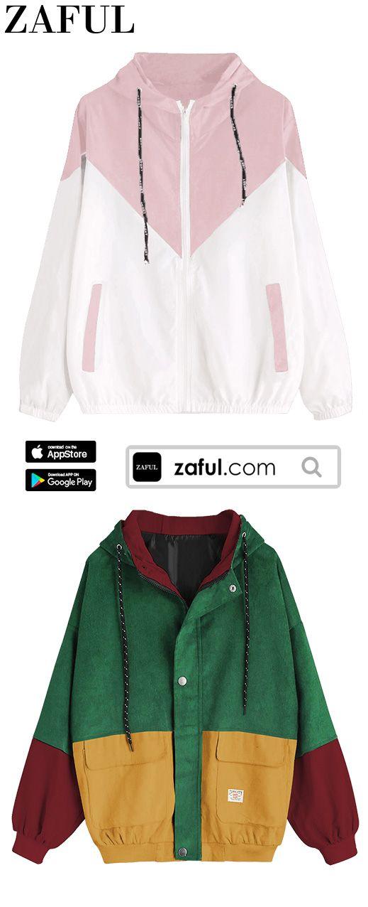 Hooded Color Block Corduroy Jacket Zaful Tops Inspiration