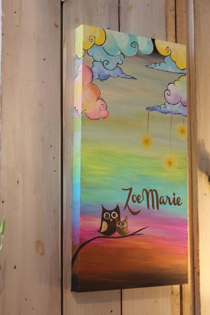 Baby and Mama Owl Nursery Painting. $65.00, via Etsy.