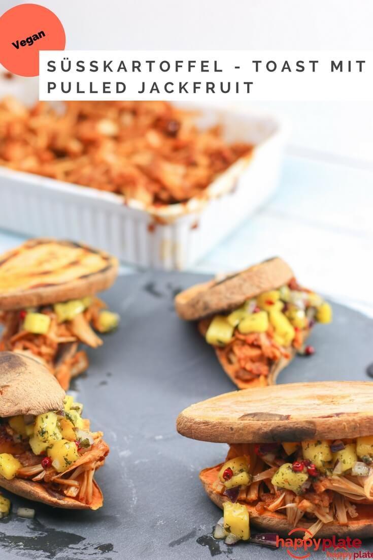 Pulled Jackfrucht Süßkartoffel-Sandwich mit Mangosalat