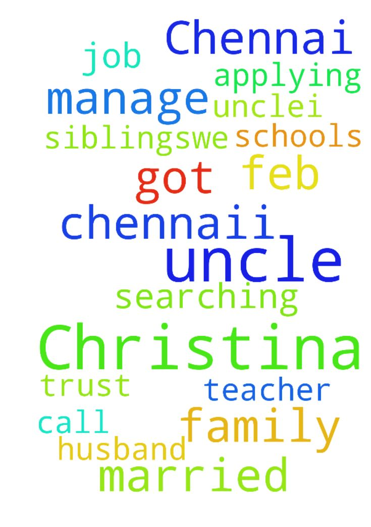 Dear uncle,I am Christina from Chennai.i - Dear uncle,I am Christina from Chennai.i got married Feb 16 2017.i am searching teacher job I am applying some schools but no should call for me my husband has no siblings..We only manage our family I trust my Lord but u also pray for me uncle  Posted at: https://prayerrequest.com/t/EWP #pray #prayer #request #prayerrequest