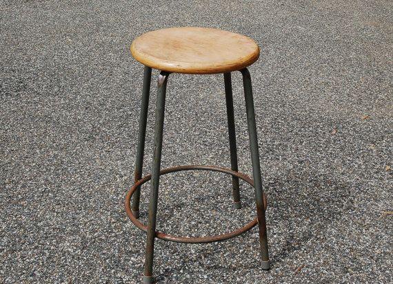 Vintage Metal And Wood Stool Mid Century Industrial Stool Round Met