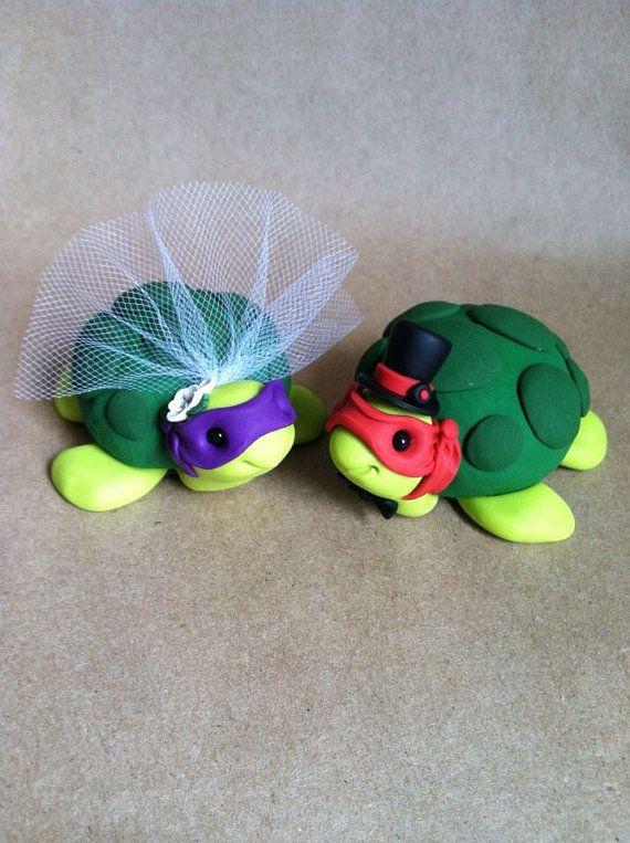 Custom Ninja Turtle Wedding Cake Topper by LuLuAmour on Etsy, $80.00