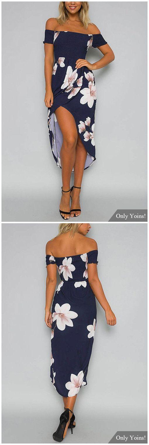 Random Floral Print Off Shoulder Midi Dress
