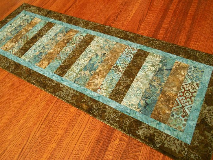 Modern Quilted Batik Table Runner in Blue and Brown ...