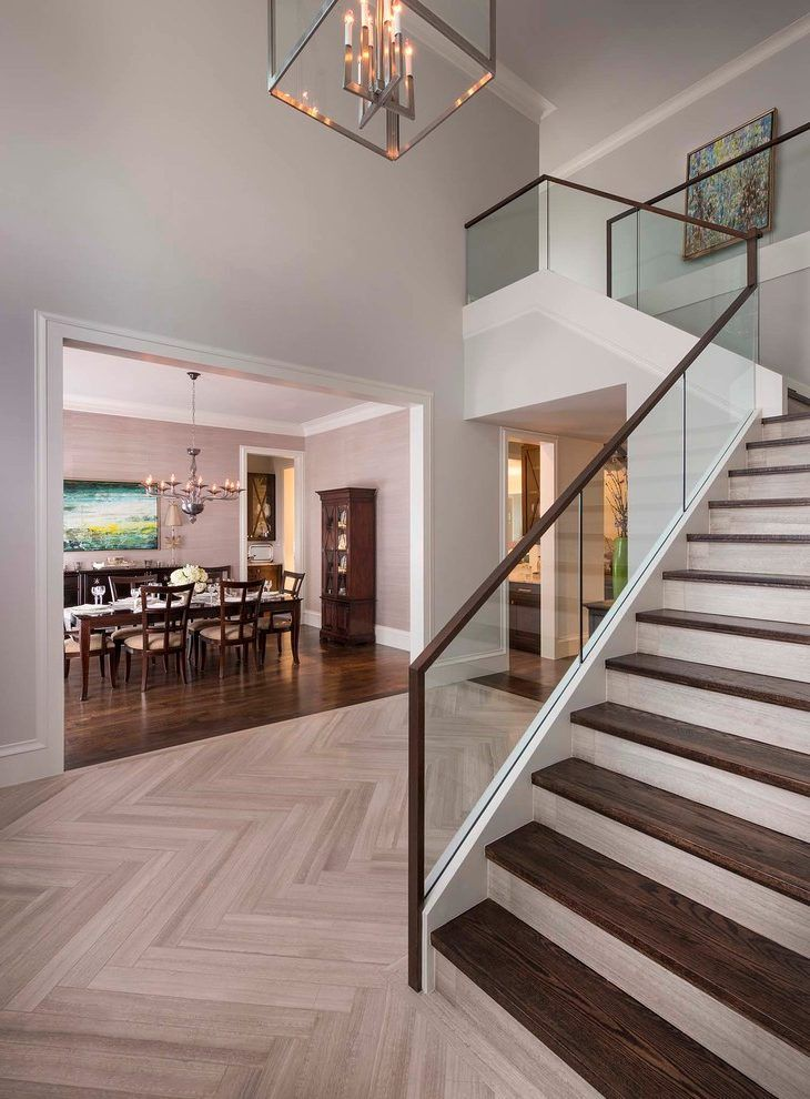 Best Dallas Herringbone Wood Floor Staircase Transitional With 400 x 300