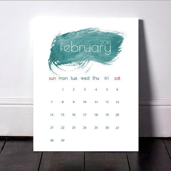 Watercolor February 2016 Calendar, Printable Calendar, Monthly Planner, Calendar 2016, Monthly Calendar, Wall Print, Downloadable Calendar