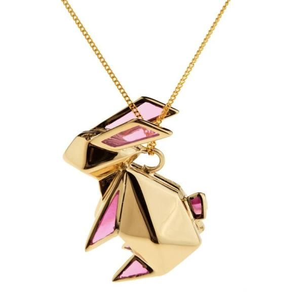 Big Rabbit Origami Pink - Gold plated | Origami Jewellery - a quirky piece of jewlrey transforms the look!