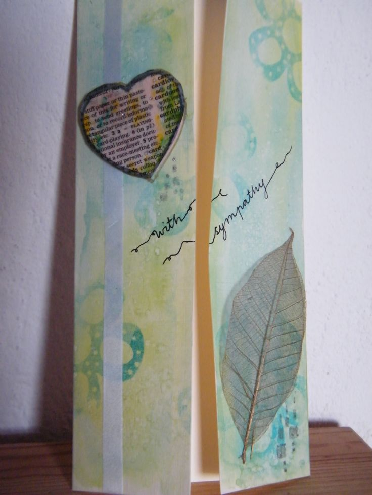 With sympathy card - watercolour and stamped background, dictionary heart and leaf skeleton