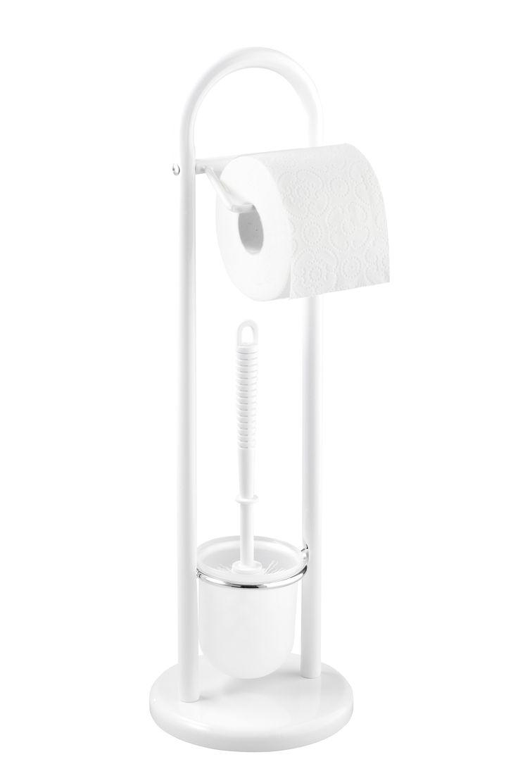 WENKO Stand WC-Garnitur Siena Weiß  Description: Die Exclusiv Stand WC-Garnitur Siena kommt ohne die übliche Wandmontage des Toilettenpapierhalters aus da sie eine freistehende 2 in 1 Kombination aus Toilettenpapierrollen- und offenem WC-Bürstenhalter ist. Dezent in Weiß mit satiniertem Kunststoffeinsatz für die WC-Bürste fügt sie sich geschmackvoll in die Badezimmereinrichtung ein. Ihre massive runde Bodenplatte sorgt für den stabilen Halt. Im Lieferumfang ist eine WC-Bürste mit…