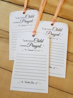 Set of 12 Baby Shower or Baptism Wishing Tree Tags – For this Child I have Prayed – Prayers for Baby tags – Blessing Ring Cards