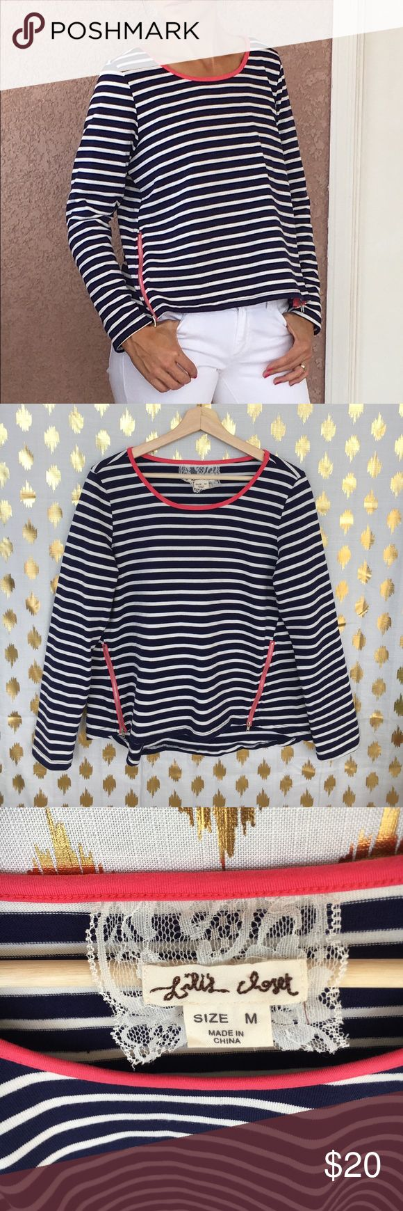 Lili's Closet Anthro striped long sleeve top Navy/white Striped long sleeve top with pink accent ribbing around neck. Detail zippers with pink ribbing at bottom. *Paired with White Micheal Kors jeans in another listing. Anthropologie Tops Tees - Long Sleeve