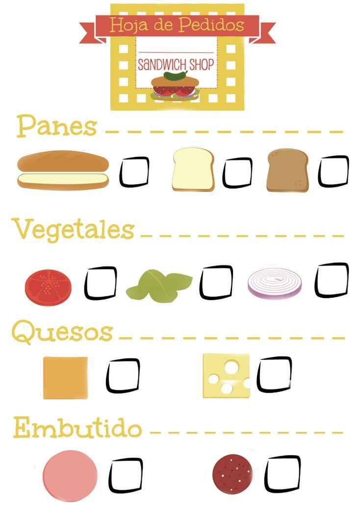 Hoja de Pedidos para jugar a los restaurantes. Primero el camarero toma los pedidos de sándwich y bocadillos y después lo lleva a cocina donde se preparan!