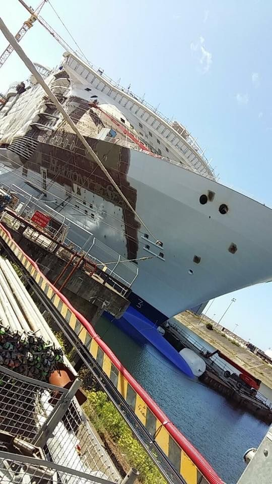 Royal Caribbean International's Harmony of the Seas afloat in Bassin C at STX France in Saint-Nazaire.